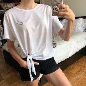 Tops - SALTY White Knotted Short Sleeve Top